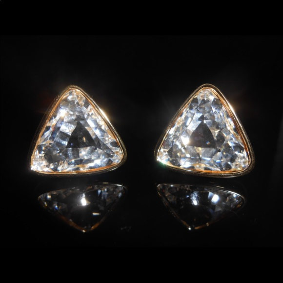 Swarovski Triangle Rhinestone Clip On Earrings